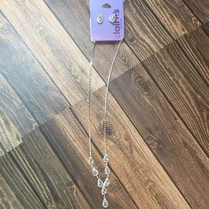 NWT Claire's silver tear drop earrings & necklace